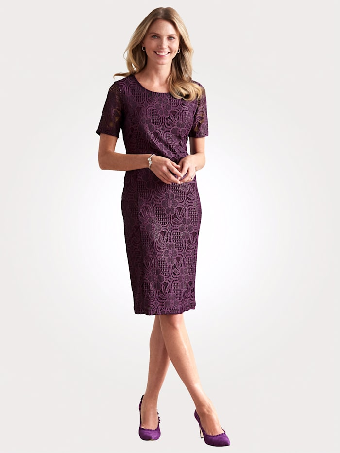 MONA Lace dress with a subtle shimmer, Aubergine