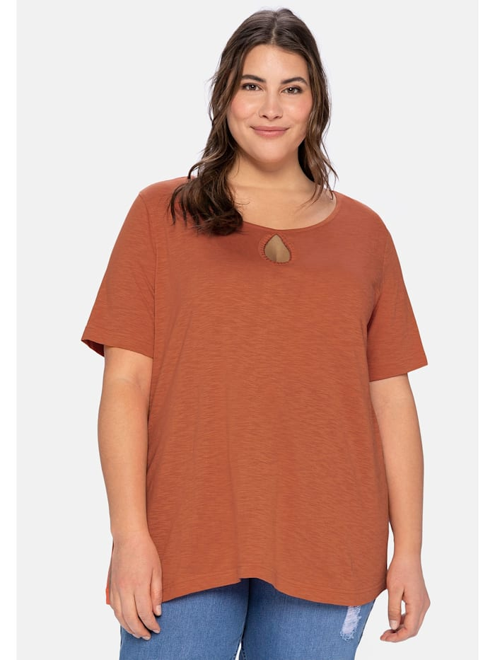 Sheego T-Shirt aus leichter Flammgarnqualität, kupferfarben