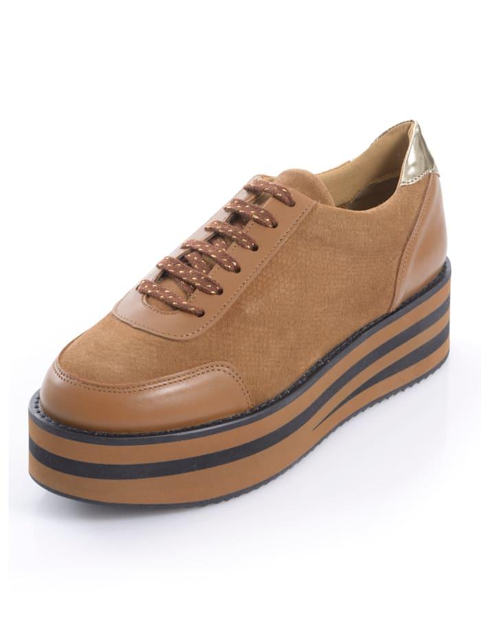 Alba Moda Sneaker met dikke plateauzool, Cognac