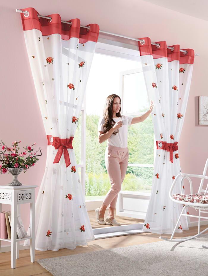 Webschatz En gardin med en rosett, röd