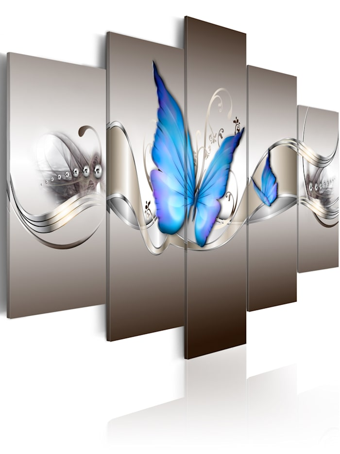 artgeist Wandbild Blaue Schmetterlinge, Blau,Grau