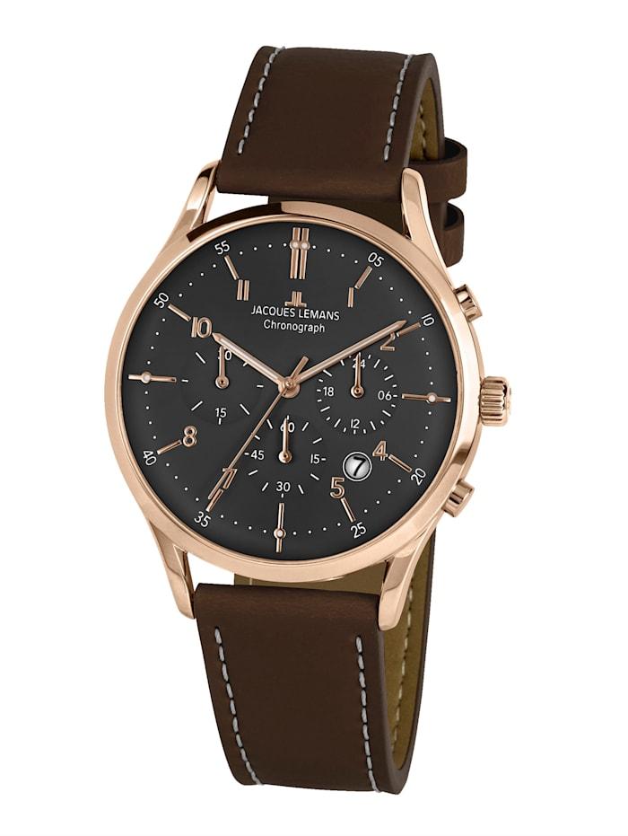 Jacques Lemans Herren-Uhr Chronograph Serie: Retro Classic, Kollektion: Retro Classic: 1- 2068Q, Dunkelbraun