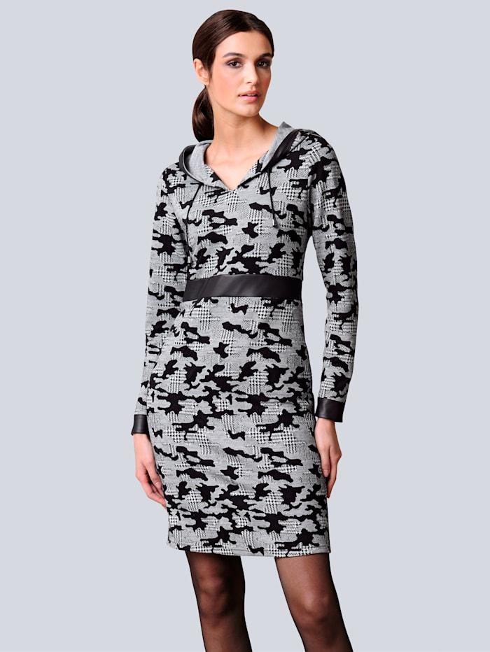 Alba Moda Jerseykleid allover im abstrakten Hahnentrittmuster, Schwarz/Off-white