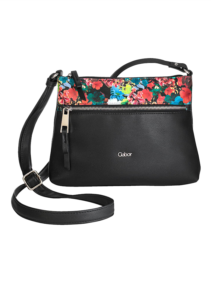 Gabor Umhängetasche mit edlem floralen Design-Einsatz, schwarz/floral