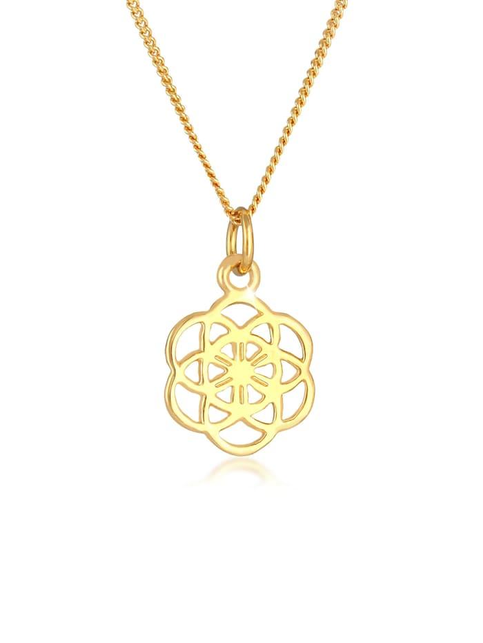 Nenalina Halskette Blume Des Lebens Ornament Symbol Flower 925 Silber, Gold