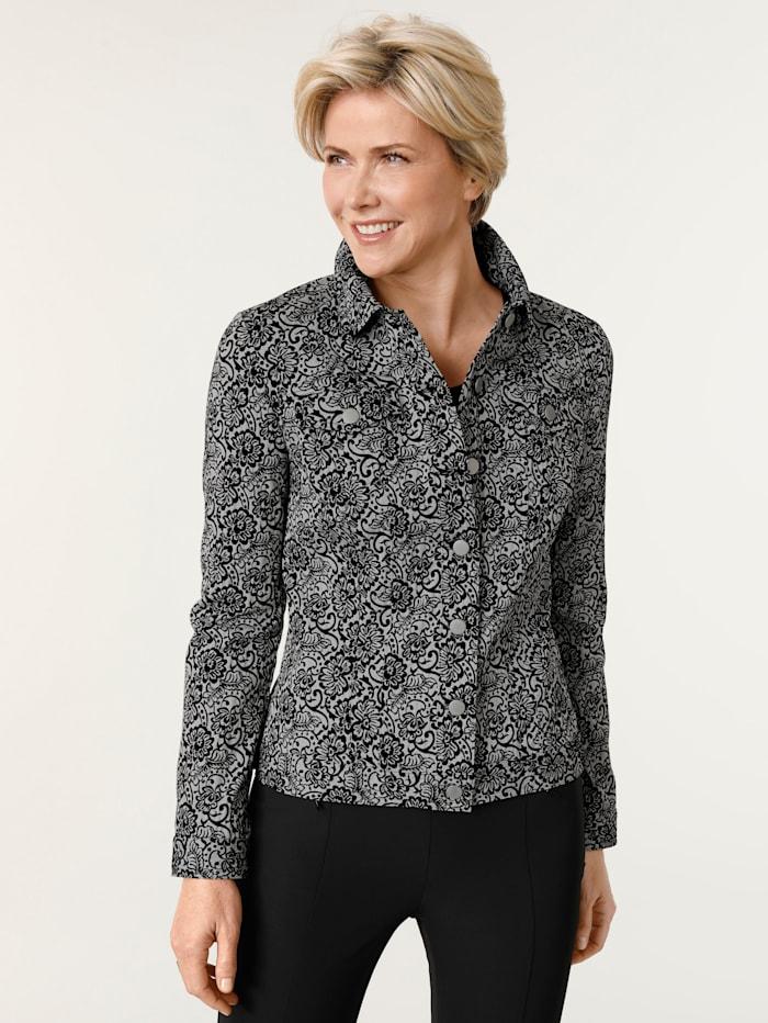 MONA Veste en jean en motif jacquard fleuri, Noir/Blanc
