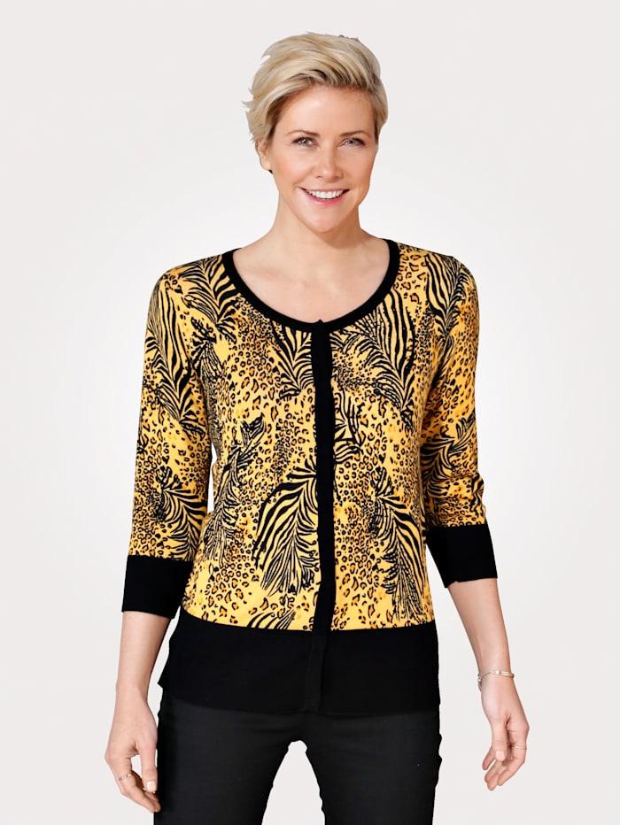 MONA Cardigan with animal print, Ochre Yellow/Black