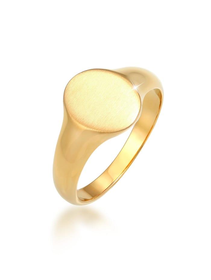 Kuzzoi Ring Basic Cool Siegelring Herren Matt 925 Silber, Gold