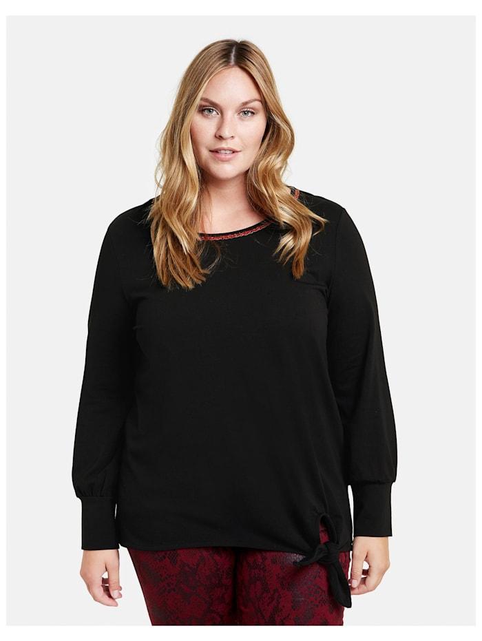 Samoon Shirts mit Knoten-Detail GOTS zertifizierte Bio-Baumwolle, Black