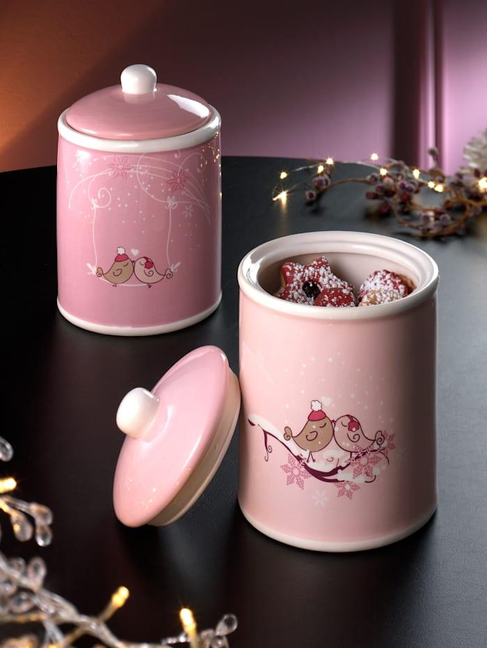 Boltze Set van 2 voorraadpotten Winterly, roze