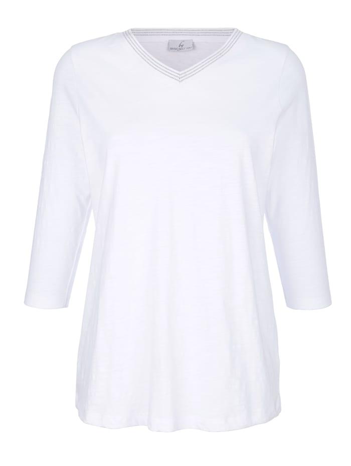 Shirt met glansgaren aan de V-hals