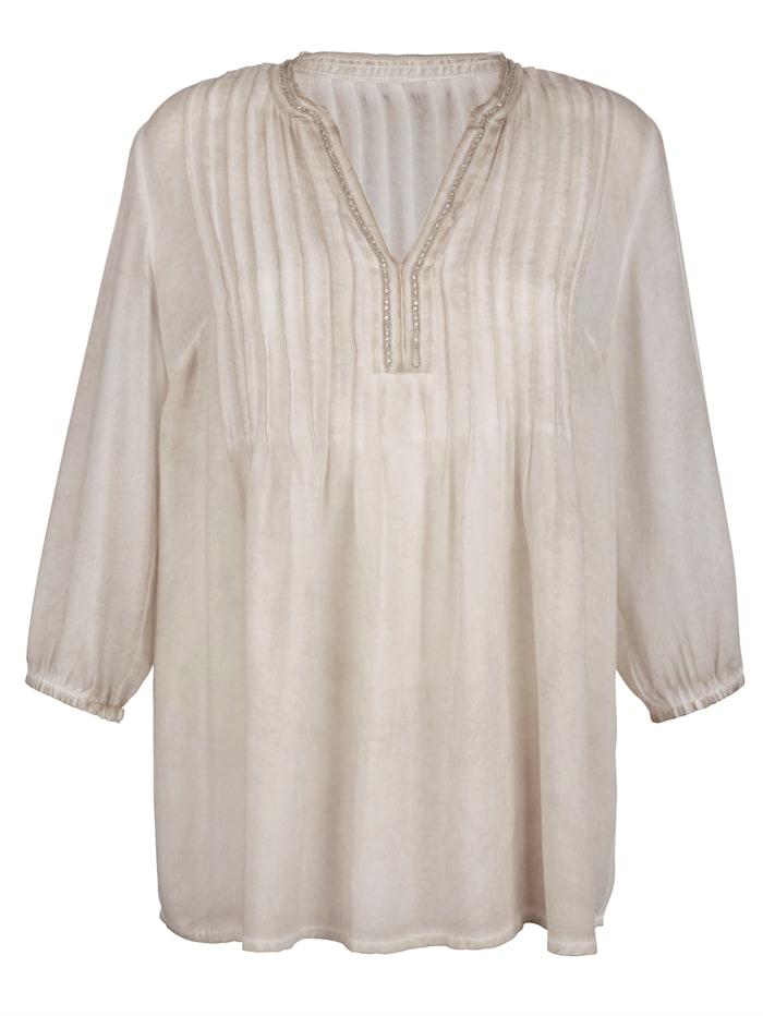 AMY VERMONT Bluse mit Perlen und Ziersteinen, Beige