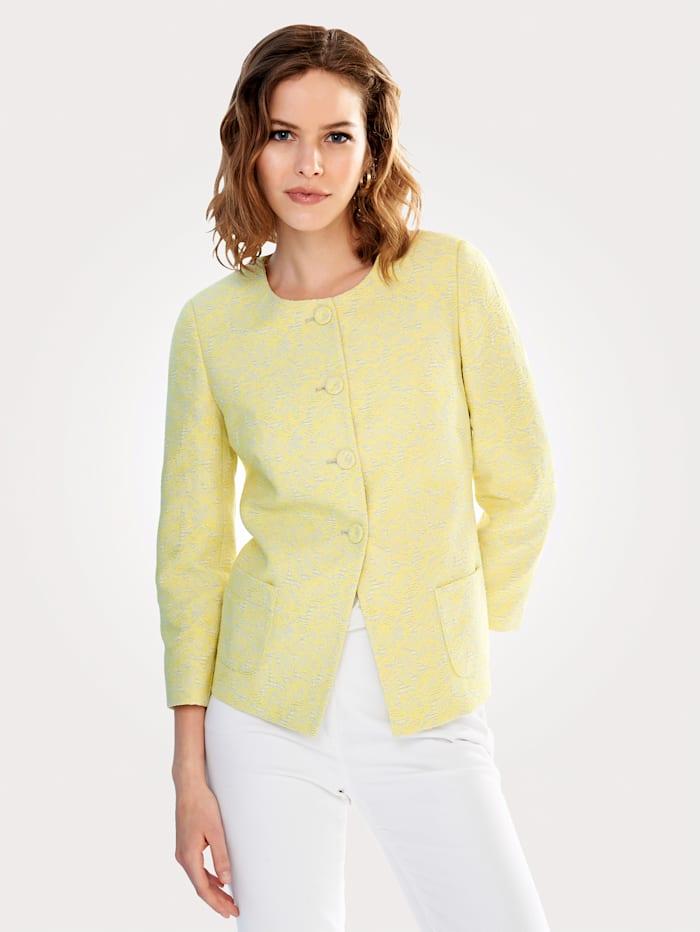 Artigiano Collarless jacket made from elegant jacquard, Yellow