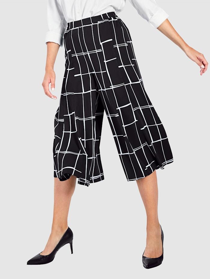 Paola Culottebyxor med grafiskt mönster, Svart/Vit