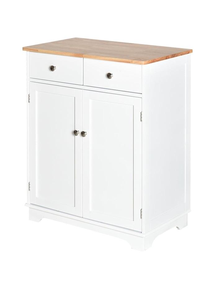 HOMCOM Küchenschrank mit zwei Schubladen, weiß, natur