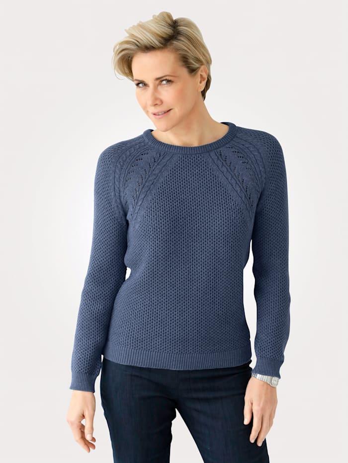 MONA Pulovr ze strukturovaného pletení, Dýmová modrá