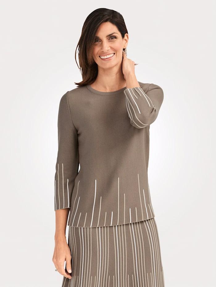 MONA Pullover mit Streifenmuster, Taupe/Sand/Ecru