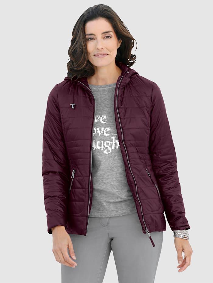 Laura Kent Doorgestikte jas met capuchon, Berry