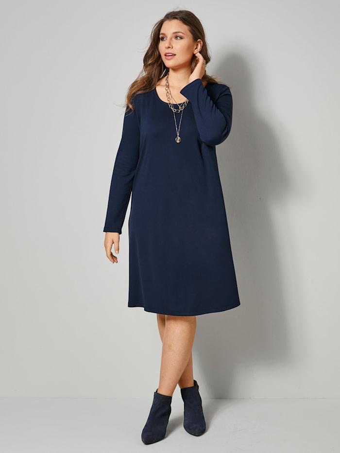 Sara Lindholm Jersey-Kleid in kaschierendem A-Shape, Marineblau
