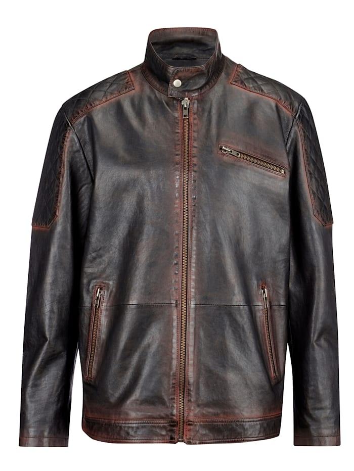 Men Plus Kožená bunda so stojatým golierom, Čierna/Hnedá