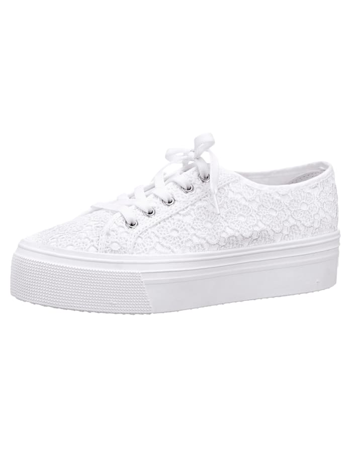 Trainers with a floral lace trim