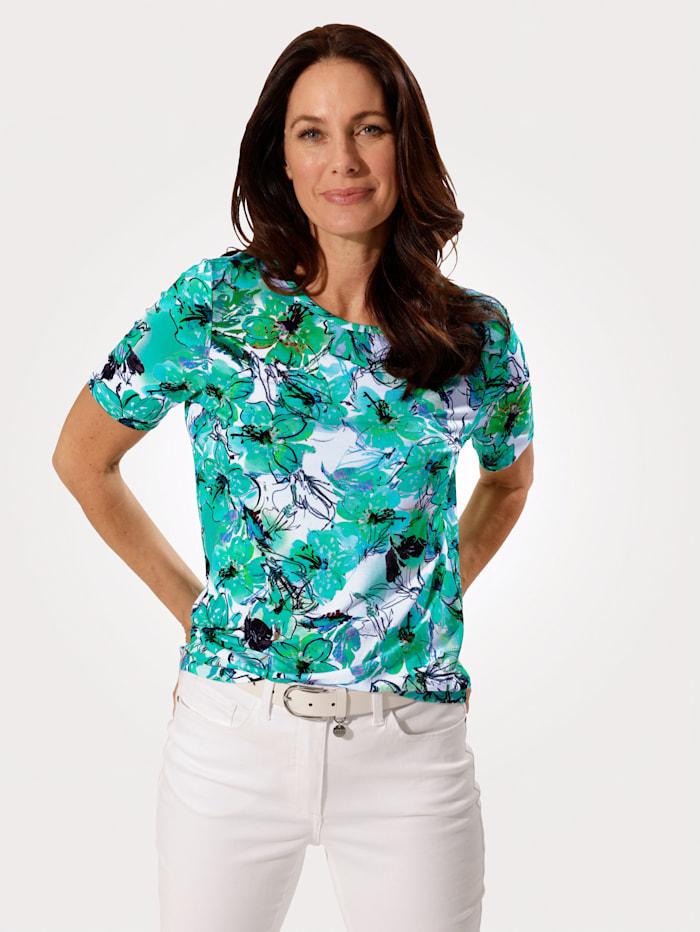 MONA Shirt met bloemenprint, Groen/Turquoise/Wit