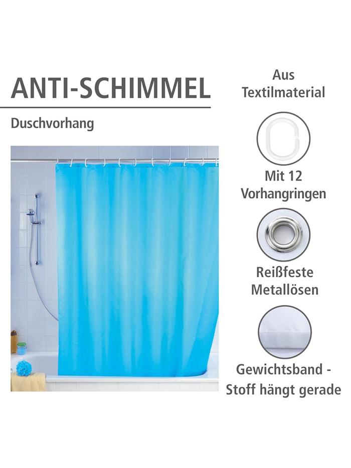 Anti-Schimmel Duschvorhang Uni Light Blue, Textil (Polyester), 180 x 200 cm, waschbar