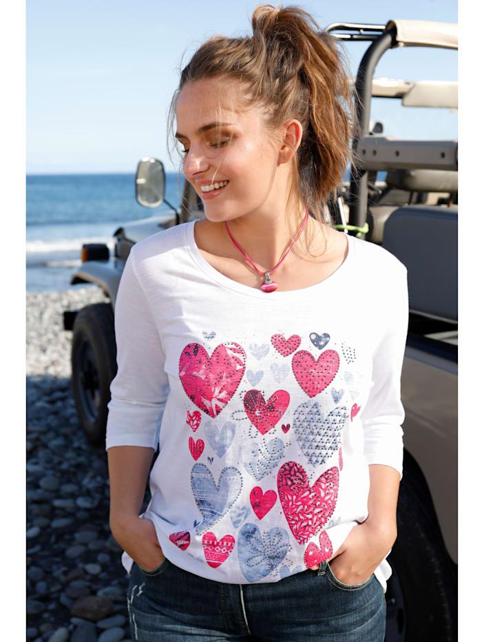 Janet & Joyce Shirt mit Herz-Print, Weiß/Pink