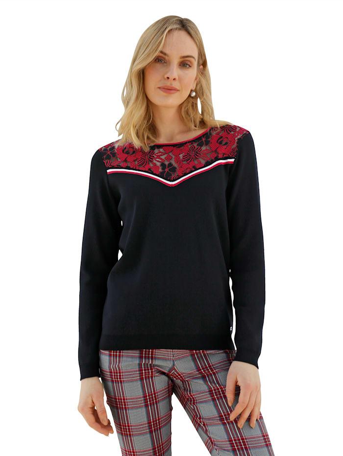 AMY VERMONT Trui met gekleurd kant aan de hals, Zwart/Wit/Rood