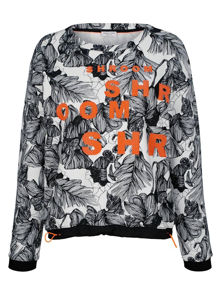 MARGITTES Sweatshirt mit Steinchen in Neofarben, Off-white