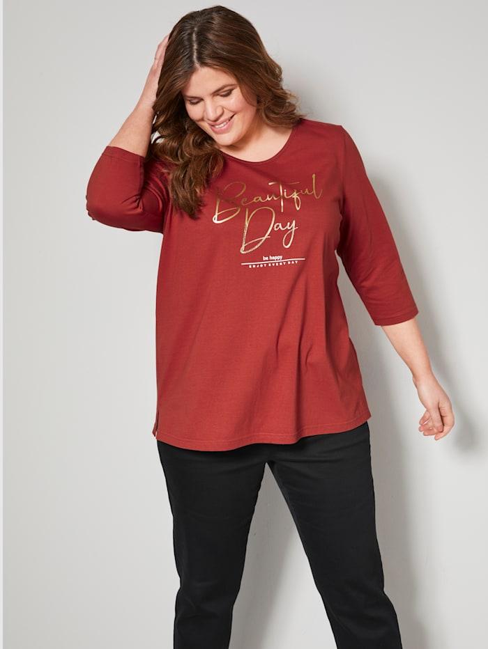 Janet & Joyce Shirt mit Schriftzug, rost