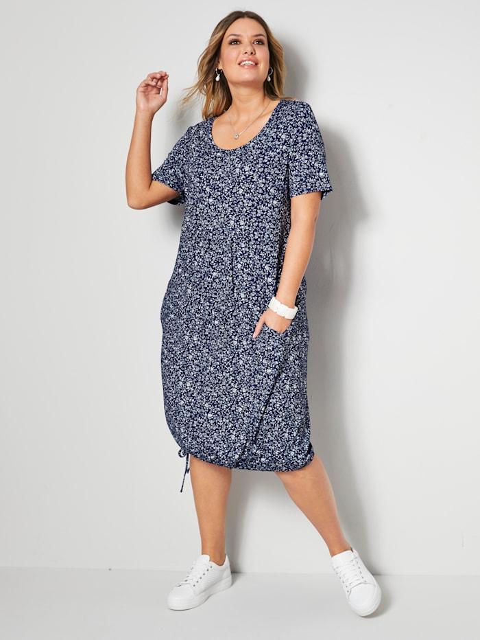 Janet & Joyce Kleid mit leichten Falten unterhalb der Brust, Marineblau/Weiß