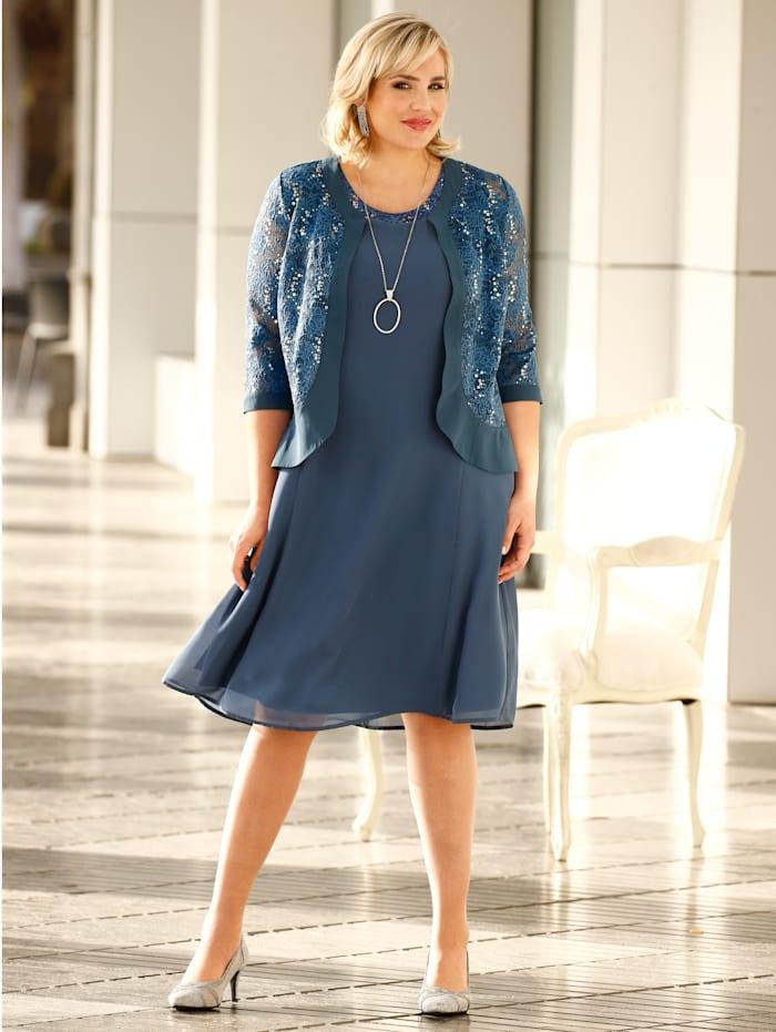 m. collection Set aus Kleid und Bolero, Blau
