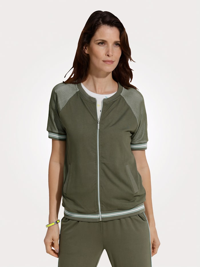 MONA Shirtjacke mit Netzeinsätzen, Oliv