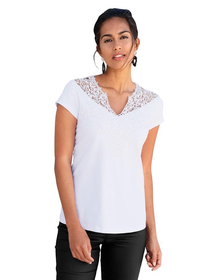 AMY VERMONT Shirt mit Spitzeneinsatz im Vorderteil, Weiß