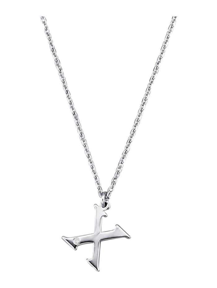 Halsband med bokstavshänge – X med diamant, Silverfärgad