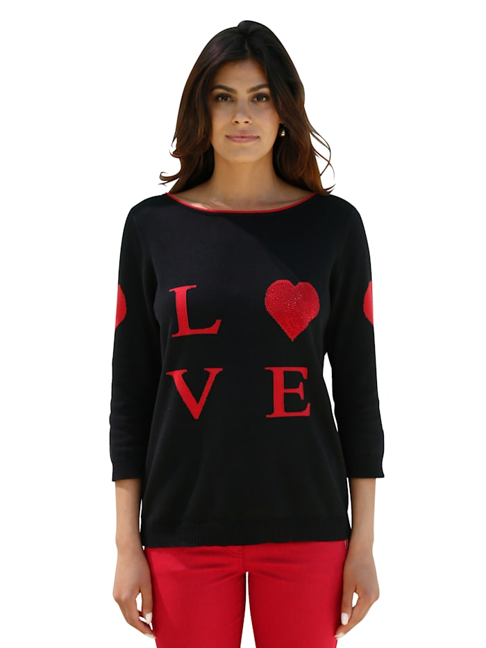 AMY VERMONT Pullover mit LOVE-Schriftzug, Schwarz/Rot