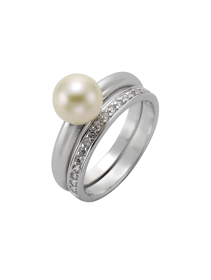 ZEEme Ring 925/- Sterling Silber Perle weiß Glänzend 925/- Sterling Silber, weiß