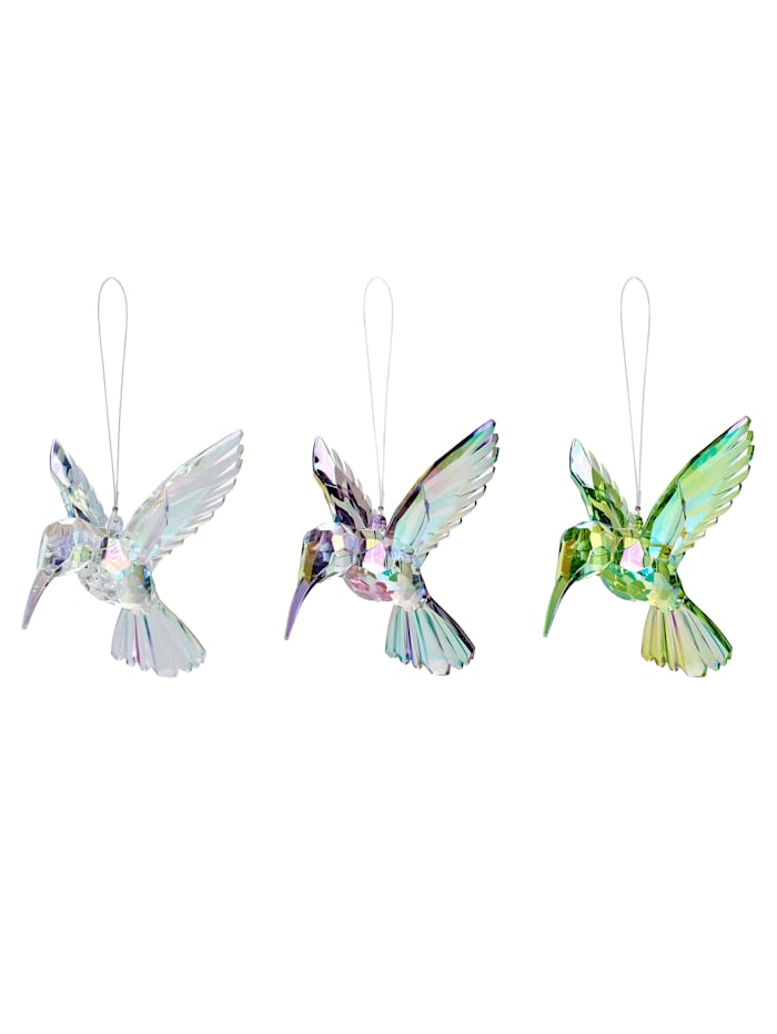 GIFTCOMPANY Hänger-Set, 3-tlg., Kolibri, transparent/grün/lila