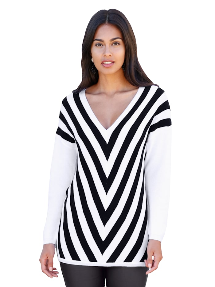 AMY VERMONT Pullover mit Streifen, Schwarz/Weiß