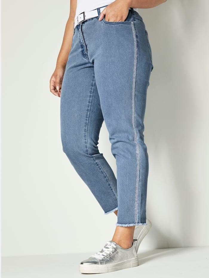 Angel of Style Jeans med galonstriper av strass, Blue bleached