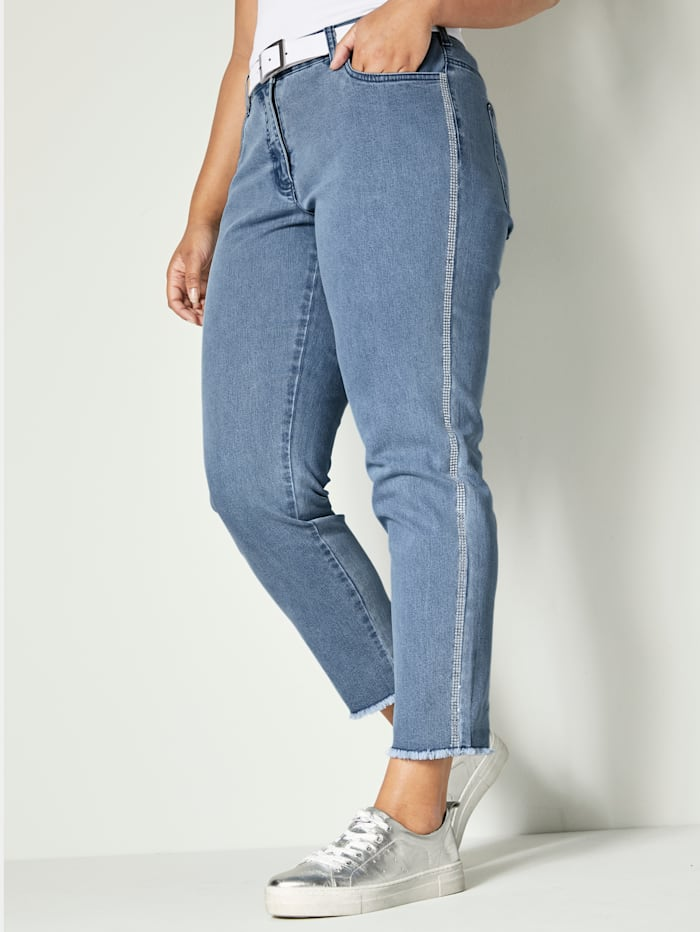 Angel of Style Jeans met strasband, Blue bleached