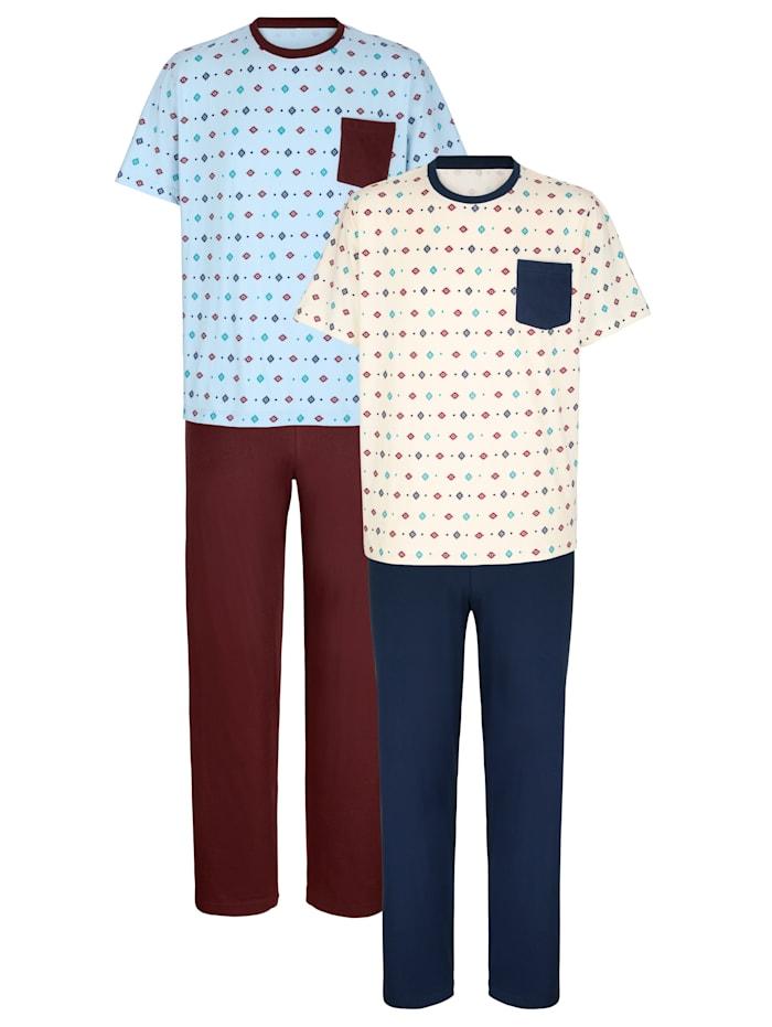 Roger Kent Pyjamas, Bordeaux/Bleu