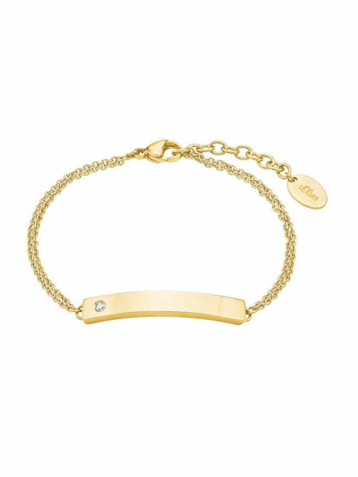 s.Oliver Armband für Damen, Edelstahl, Gold