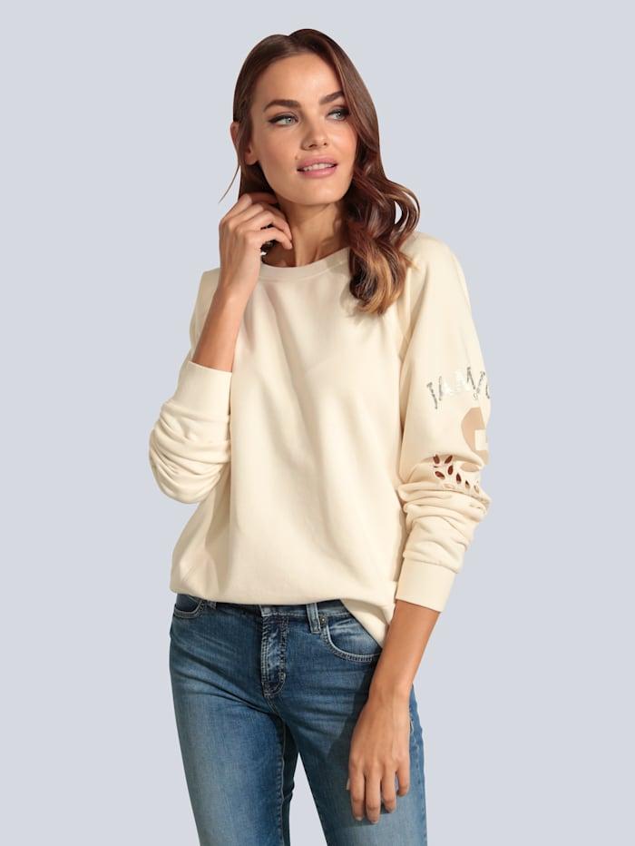 MARGITTES Sweatshirt mit Lochstickerei am Arm, Creme-Weiß