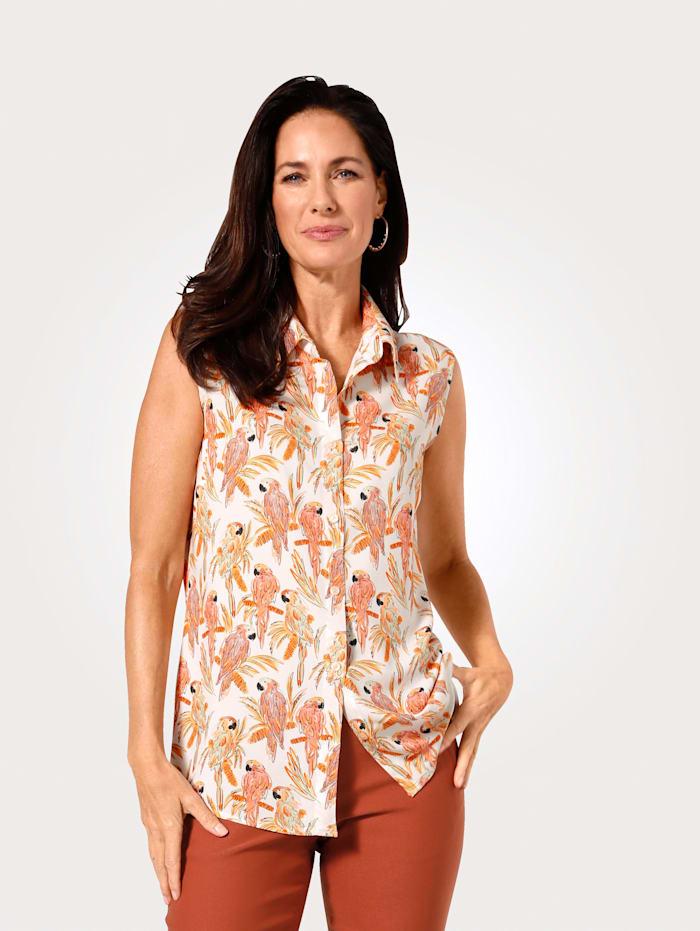 MONA Bluse ohne Arm, Apricot/Natur