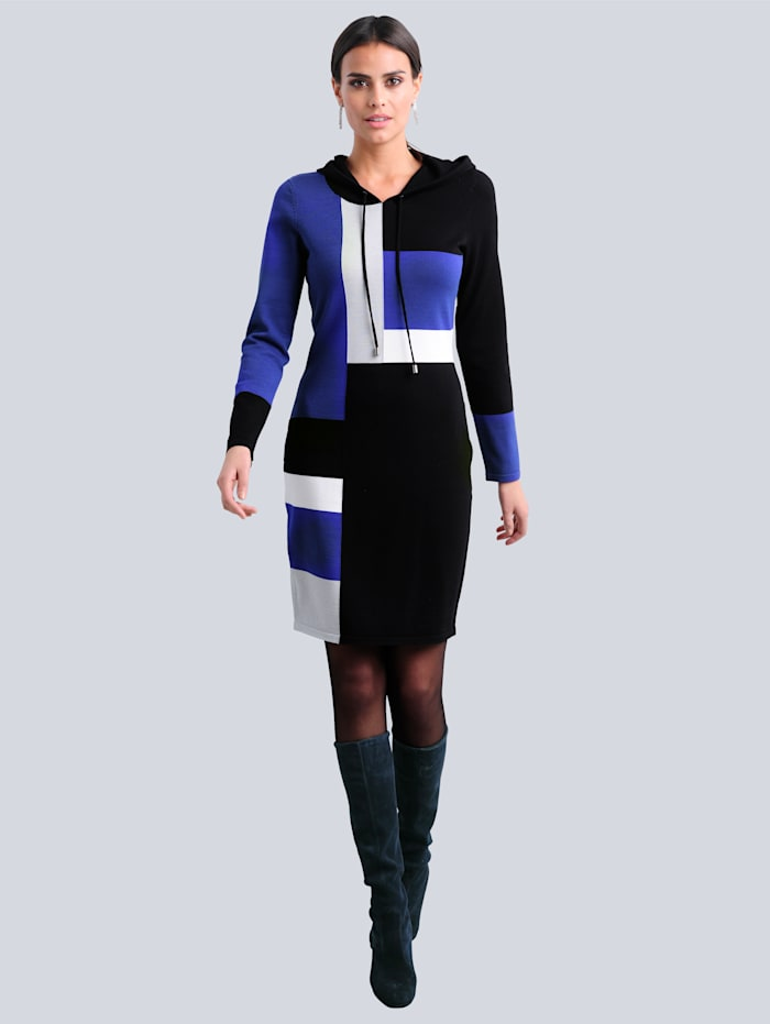 Alba Moda Strickkleid im exklusiven Dessin von Alba Moda, Marineblau/Royalblau