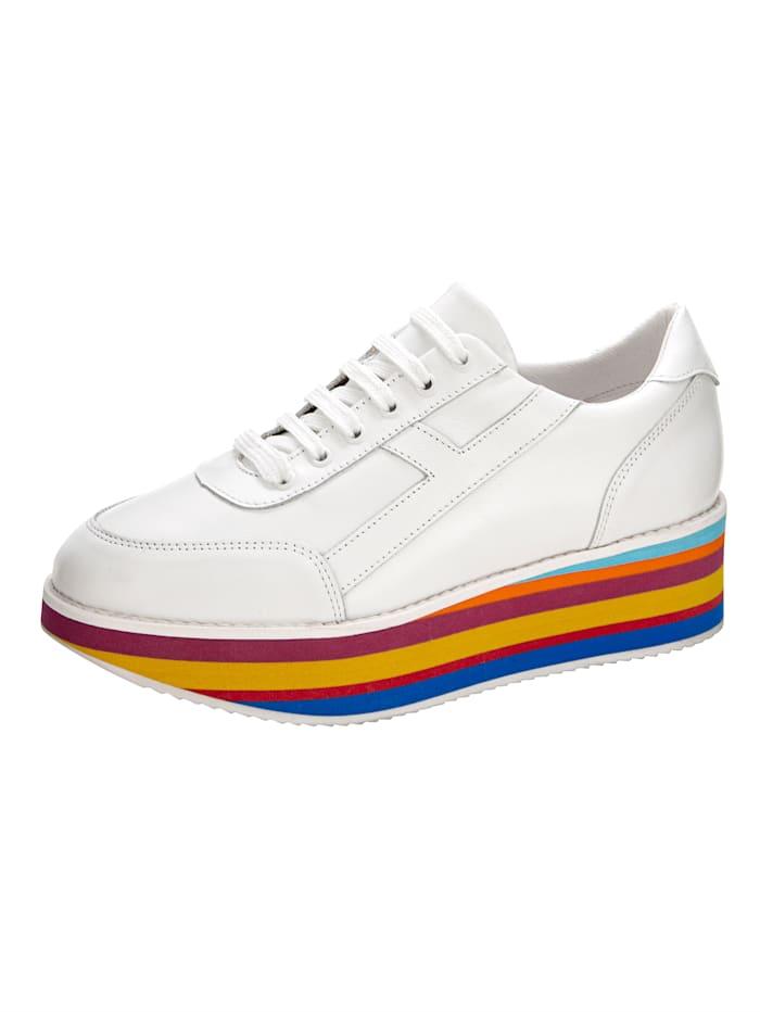 Sneakers avec semelle de marche à plateau colorée, Blanc