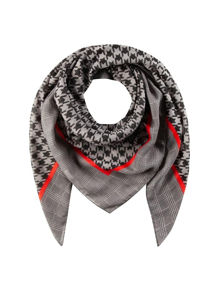 Codello XL-Tuch mit Hahnentritt-Muster aus recyceltem Polyester, grey
