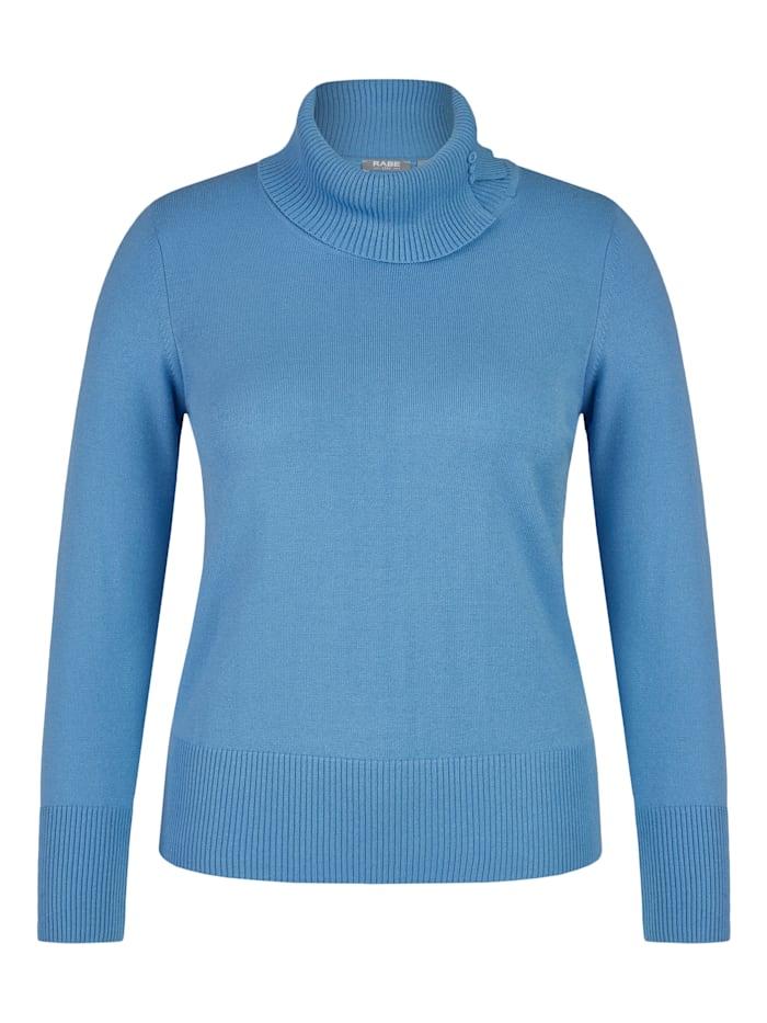 Rabe Pullover im Uni-Design mit Zierknöpfen, Mittelblau